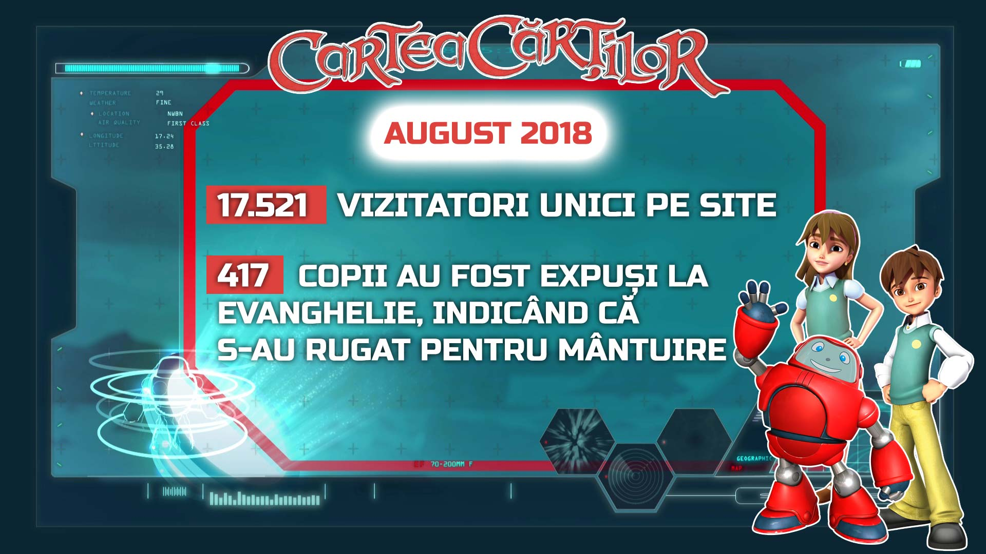 Site-ul CarteaCartilor.tv - activitatea din luna august 2018