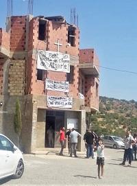Biserica Evanghelică din Ighzer Amokrane, Algeria, acces restricționat, marcat printr-un ordin de închisere, în 26 august 2019. Sursa- Morning Star News